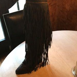 Ivy Kirzhner leather long fringe boots
